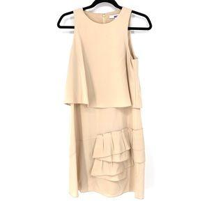 Tibi Sz 4 Sophia Silk Ruffle Dress Draped Nude